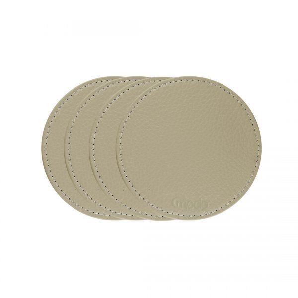 Handmade in Italy Genuine Italian Leather Coasters Beige