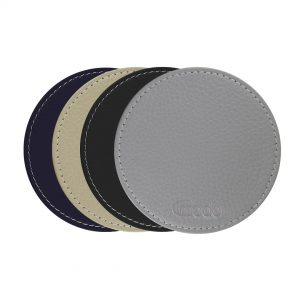 Handmade in Italy Genuine Italian Leather Coasters Neutral Colors