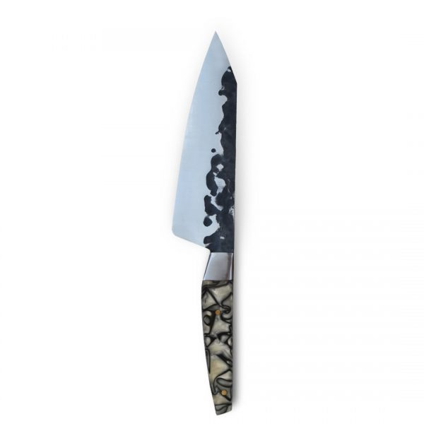 Italy. Handmade in Italy, professional Gyuto Style Kitchen Knife with stainless steel hammered finish blade and a handcrafted resin handle.