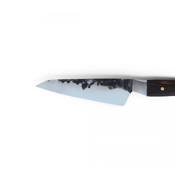 Italy. Handmade in Italy, professional Honesuki Kitchen Knife with stainless steel hammered finish blade and a handcrafted wenge wood handle.