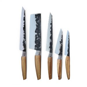 Handmade in Italy Professional Kitchen Knife Set with stainless steel hammered finish blade and a handcrafted olive wood handle.