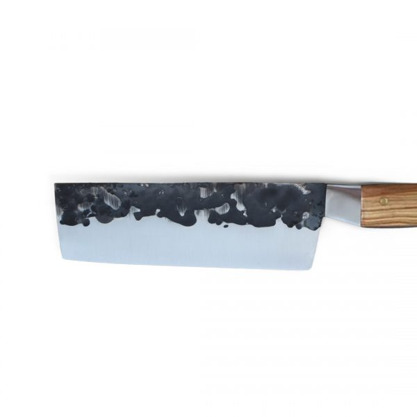 Italy. Handmade in Italy, professional Nakiri Style Kitchen Knife with stainless steel hammered finish blade and a handcrafted olive wood handle.