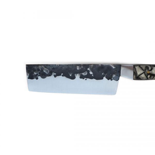 Italy. Handmade in Italy, professional Nakiri Style Kitchen Knife with stainless steel hammered finish blade and a handcrafted resin handle.