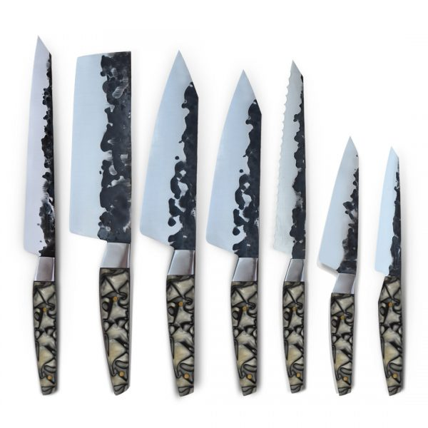 Handmade in Italy. Professional Kitchen Knife Set with stainless steel hammered finish blade and a handcrafted resin handle.