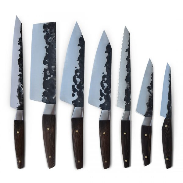 Handmade in Italy Professional Kitchen Knife Set with stainless steel hammered finish blade and a handcrafted wenge wood handle.