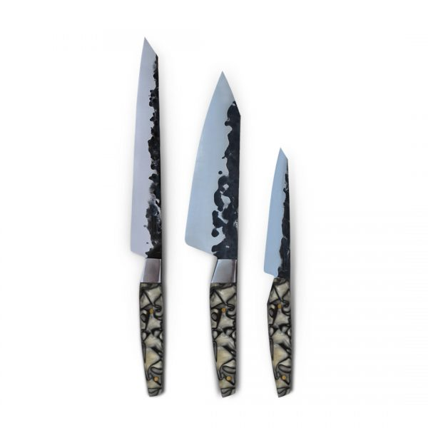 Made in Italy. Italian Handcrafted Knives with Handforged Stainless steel blade and handmade Resin Handle. Blade features a hammered finish.
