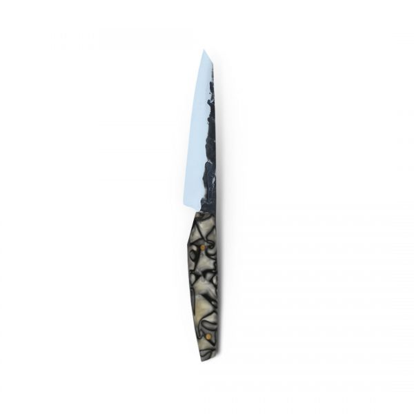 Italy. Handmade in Italy, professional piccolo Sujihiki Style Kitchen Knife with stainless steel hammered finish blade and a handcrafted resin handle.