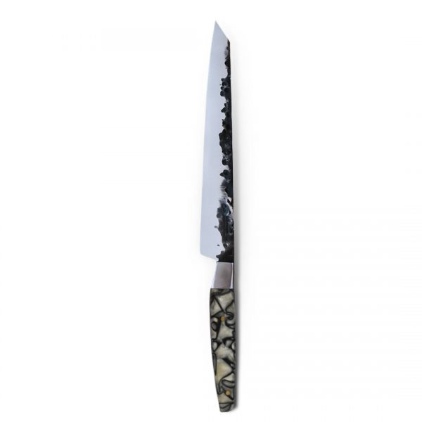 Italy. Handmade in Italy, professional Sujihiki Style Kitchen Knife with stainless steel hammered finish blade and a handcrafted resin handle.