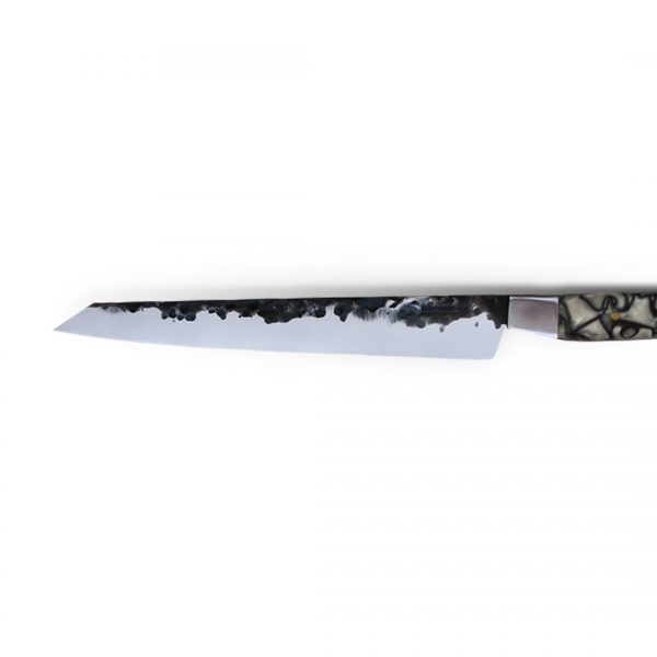 Italy. Handmade in Italy, professional Pane and Pasticceria or Bread Kitchen Knife with stainless steel hammered finish blade and a handcrafted resin handle.