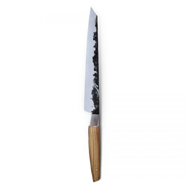 Italy. Handmade in Italy, professional Sujihiki Style Kitchen Knife with stainless steel hammered finish blade and a handcrafted olive wood handle.